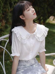法式娃娃领白色短袖夏季甜美衬衫