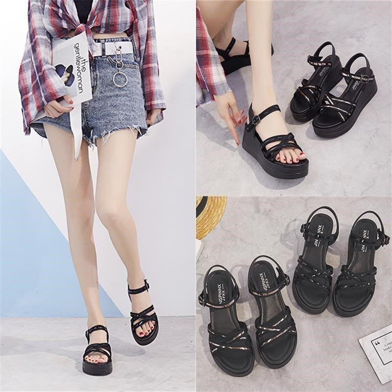 Slope heel sandals women 2020 summer new muffin shoes Korean version versatile high heel thick sole platform Roman shoes fashion