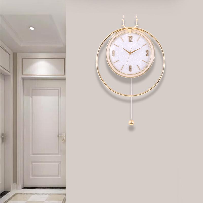 简约现代静音挂墙钟表石英钟北欧鹿头艺术装饰时钟挂钟壁钟轻奢钟
