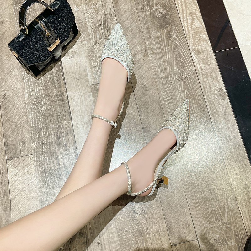 2021 summer new Rhinestone fashion Korean one line womens single sandals thin heel sexy hollow high heel single shoes