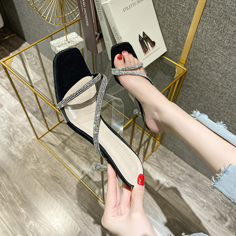 2021 summer new one line sandals transparent half drag thin heel square head sexy Diamond Girl Style High Heel Sandals