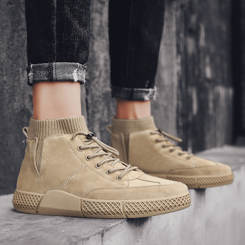 Martin boots mens high top British Korean fashion versatile work boots outdoor leather boots mid top casual shoes mens fashion shoes