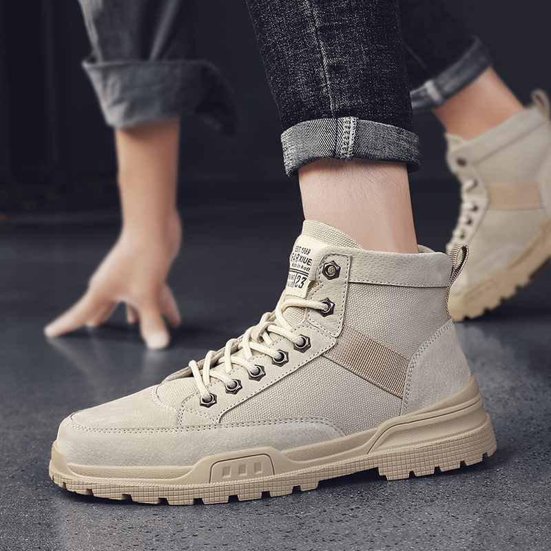 Martin boots mens autumn breathable Korean high top boots British work boots casual versatile shoes outdoor desert boots