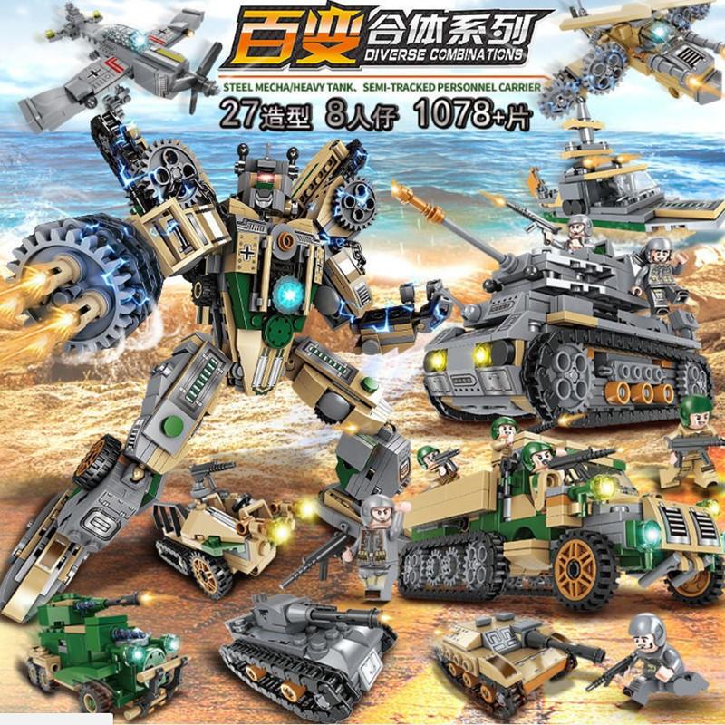 新款积木男女孩玩具儿童小学生积木拼装益智军事坦克新品
