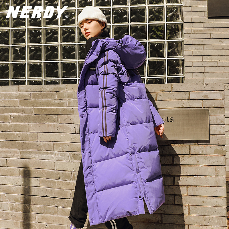 Nerdy Korean tide card winter authentic down jacket new long female couple male friends loose duck velvet thick coat