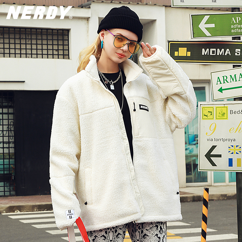 NERDY2020 autumn and winter new product trend contrast stitching cardigan loose bf wind jacket lamb velvet short coat