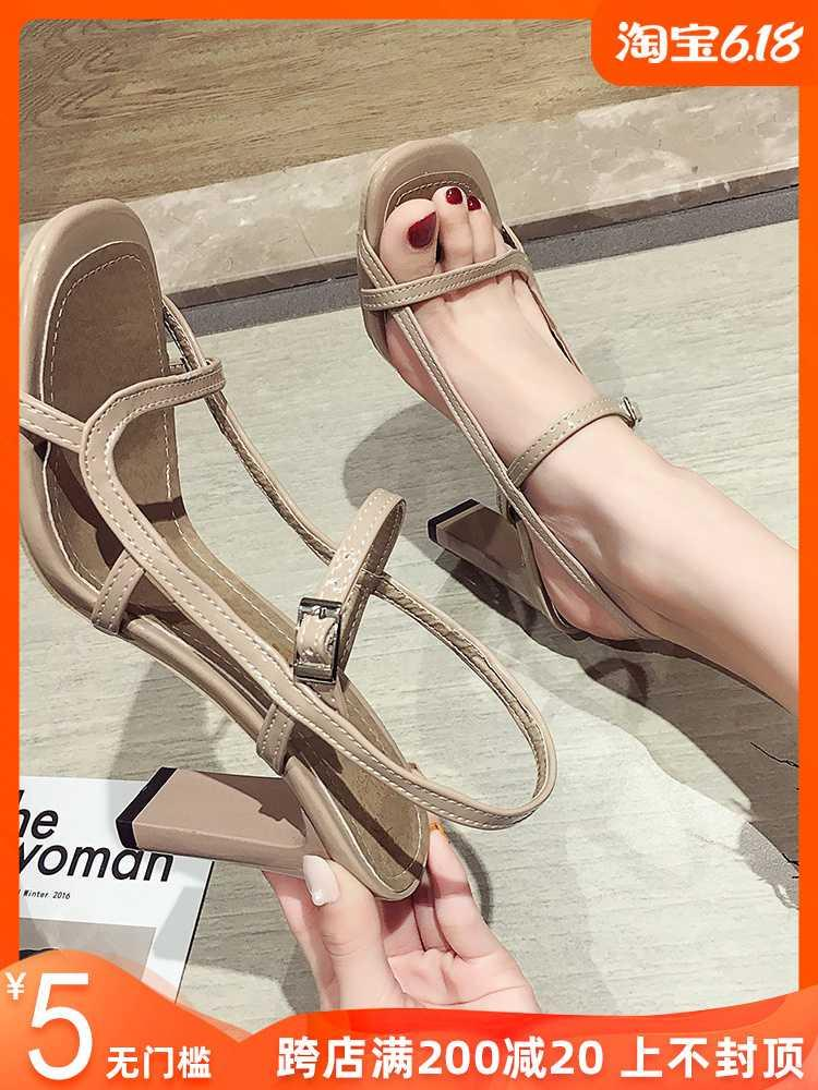 Sandals fairies 2020 new spring Korean version of red peep toe buckle Roman shoes thick heels high heels