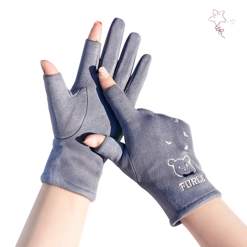 Gloves can touch screen, mobile phone, ladies autumn and winter fashion, drivers special, winter lovely show finger