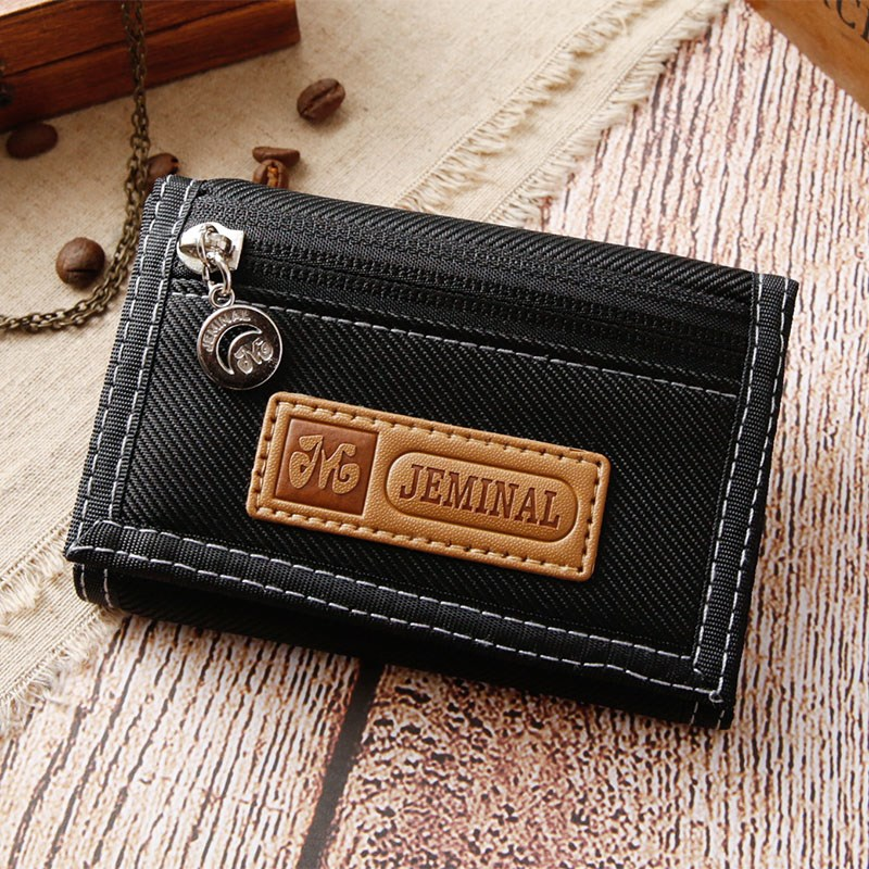 Mens canvas nylon leisure short three fold Wallet student double zipper lattice Pocket Wallet