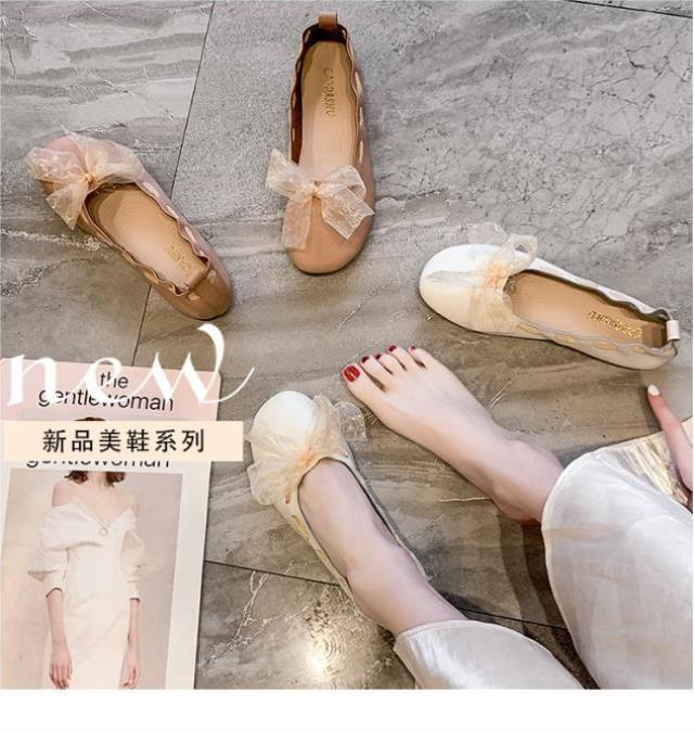 Womens autumn boat shoes shallow mouth flat sole single shoes womens grandmother shoes scoop shoes womens shoes Korean version soft soled work shoes round head cover feet