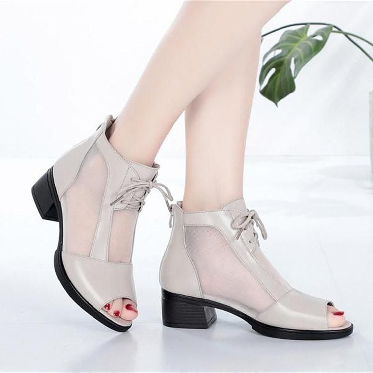 Tennis shoes womens middle heel 2020 new spring and summer new work and leisure short boots thick heel sandals fish mouth net yarn cool boots