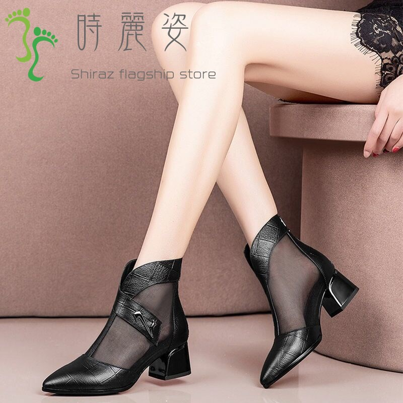 Hollow net boots womens spring and summer new style single shoes womens cool boots