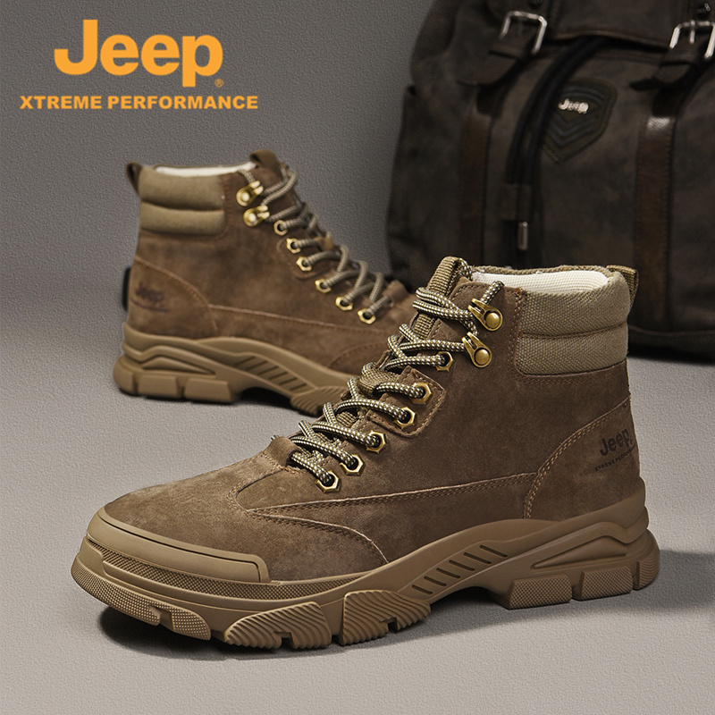 Jeep / Jeep mens high top shoes fall and winter 2020 new Martin boots thermal shoes outdoor sports fashion