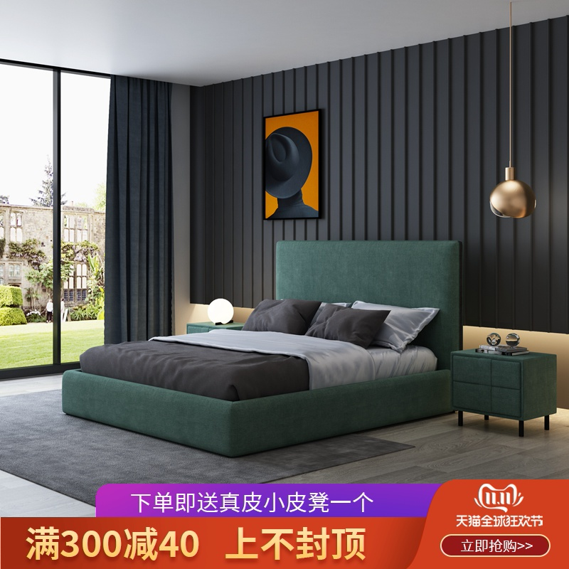 Building Rui house Italian minimalist cloth bed small family storage double bed Nordic modern simple marriage bed