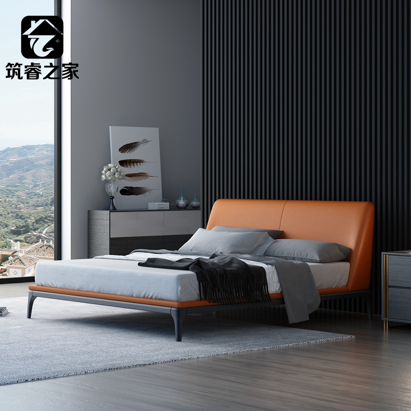 Zhurui house Nordic cloth soft bed modern and simple Italian master bedroom double Italian minimalist soft light luxury bed