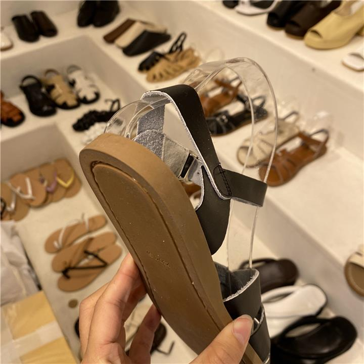Small Su womens shoes V Xia 2021 new open Q toe cross belt ankle buckle real cowhide Korean sandals age reduction B1