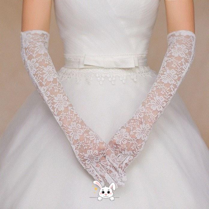 新款新娘结婚蕾丝红色白色结婚手套新娘f婚纱旗袍婚礼短款长款手