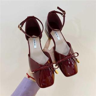 包头凉鞋女中跟粗跟2020年新款女百搭一字扣带红色玛丽珍鞋女复古