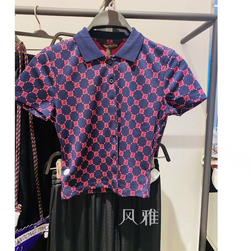Summer new pink purple Tibetan blue old flower retro polo t-shirt female yv12s4nn2000