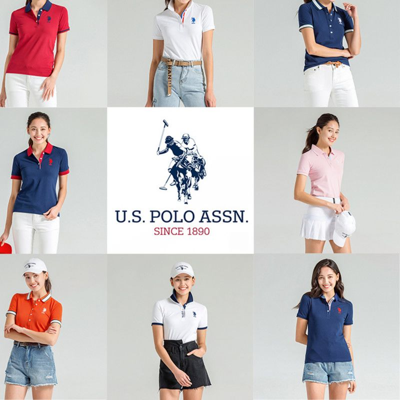 American Polo Association Womens Short Sleeve Polo Summer Cotton Lapel T-shirt casual T-shirt