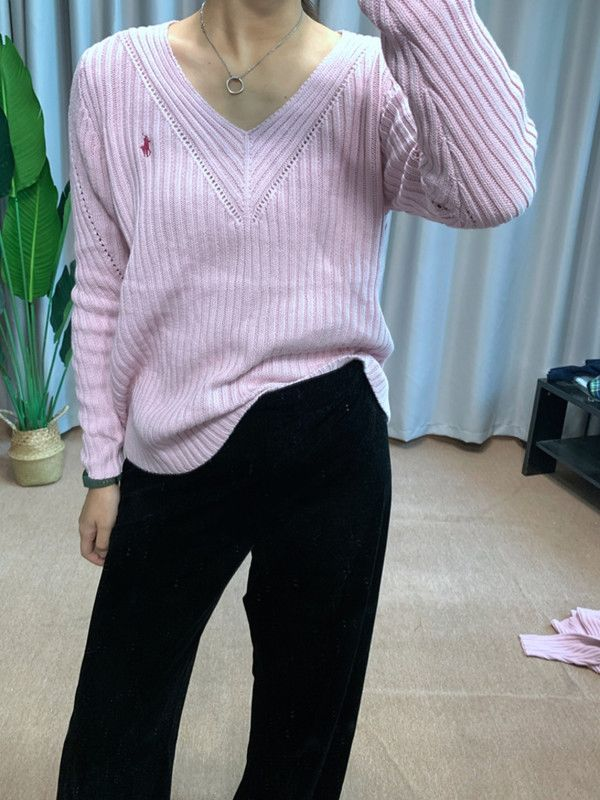 Blue Polo American 5% Cashmere thick sweater cherry pink womens wide bat sleeve