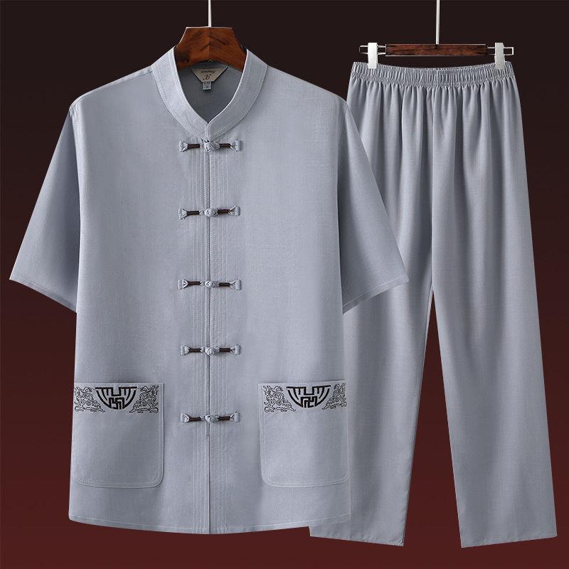 唐装男棉麻短袖套装夏装中老年爷爷汉服爸爸中国风男装老年人衣服