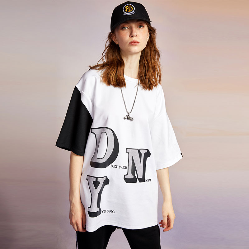 Dny fashion brand cotton T-shirt for men and women in Europe and the United States splicing three-dimensional letter round neck short sleeve loose versatile half sleeve lovers
