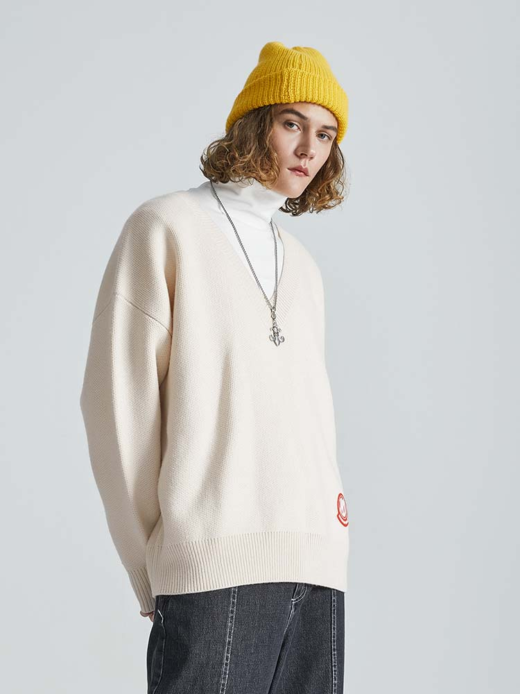 Dny tide brand knitted sweater autumn winter 2020 jacket Korean loose lazy wind versatile top V-Neck Sweater
