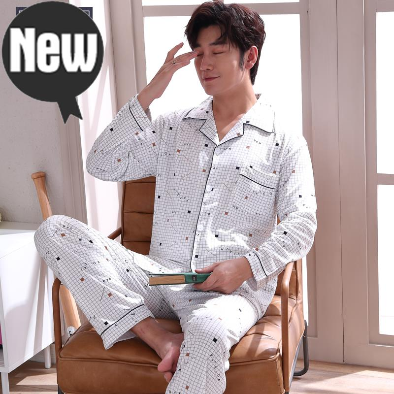 Pajamas male spring 16-50-60-year-old uncle aunt young mens cotton large size suit mens cardigan home clothes