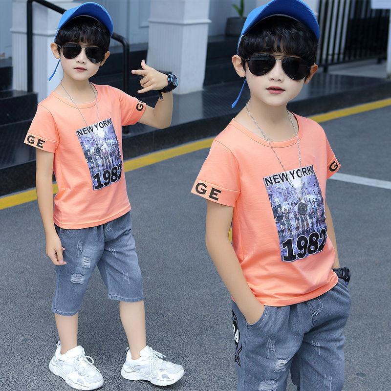 【95%棉T恤+牛仔中裤】男童短袖套装儿童夏装两件套中大童10