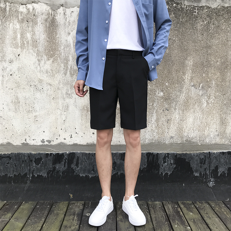 Suit and shorts mens summer slim straight tube five point pants Korean fashion youth business thin 5 point casual pants