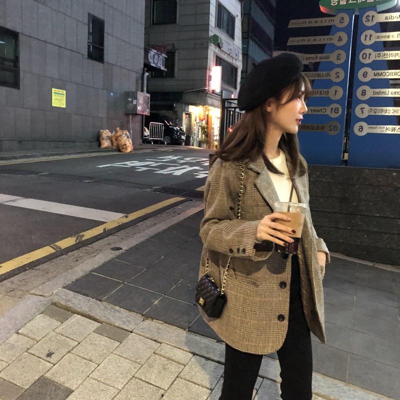 西装外套女小西装韩版秋冬英伦风女士格子网红爆款2020新款女休闲