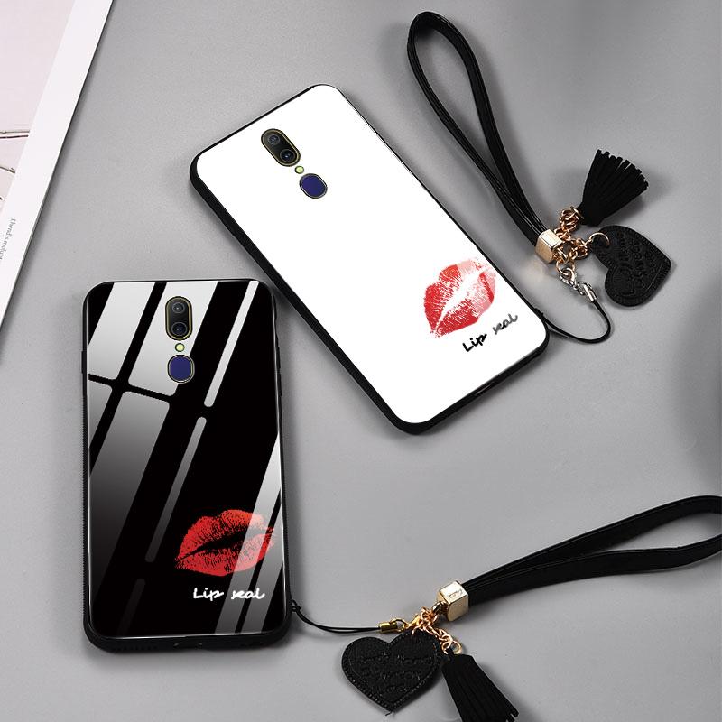 黑白唇印oppoa9手机壳a9x镜面玻璃a7x个性创意a7全包防摔a9硅胶opp10月12日最新优惠