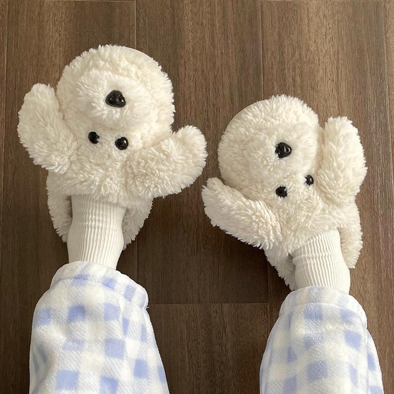 撸猫感棉拖鞋女冬天可爱卡通情侣少女心室内保暖毛毛绒居家拖鞋冬