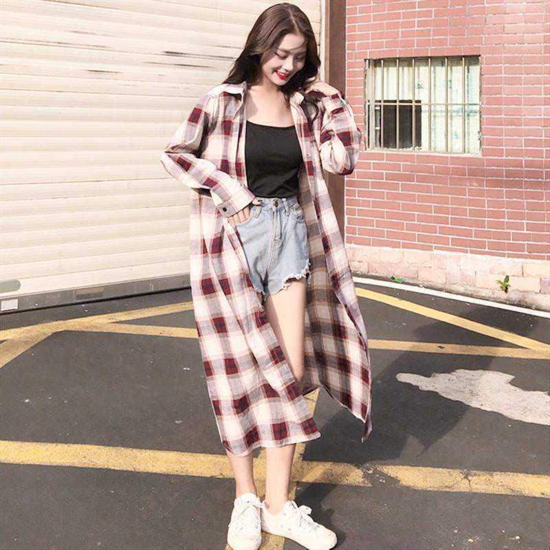 格子防晒衬衫女韩版宽松超长款过膝防晒衣女夏天外套透气薄款开衫