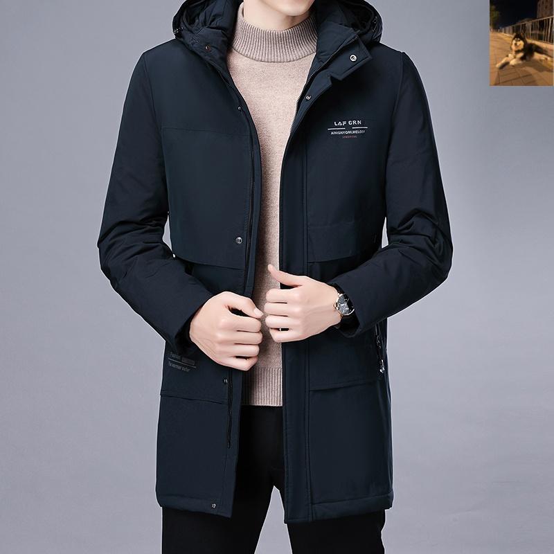 皇嘉鸿盛新款时尚男士带帽白鸭绒中长款羽绒服外套  62011