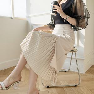 秋装2021年新款不规则半身裙女装拼接百褶裙高腰中长款包臀西装裙