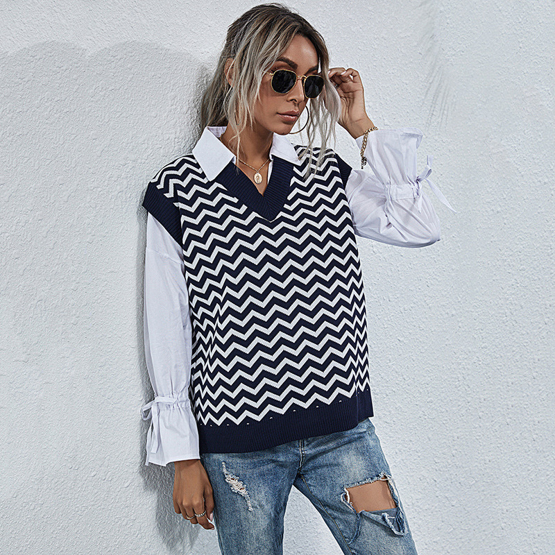 2020 spring and autumn new V-neck Pullover sleeveless European and American geometric pattern vest temperament commuter female Amazon