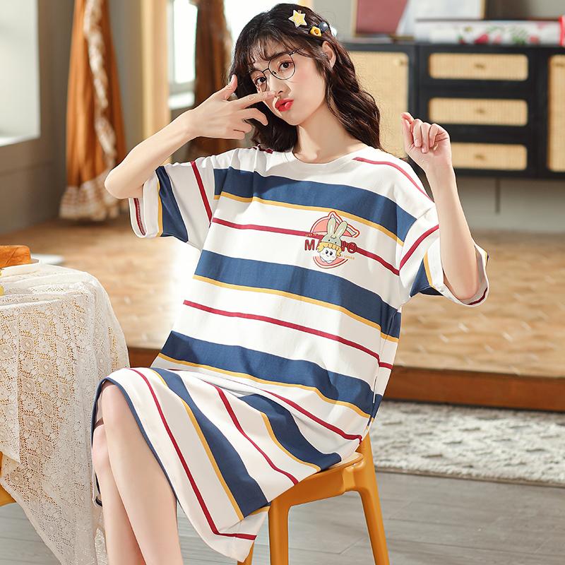 睡裙女夏季短袖纯棉宽松大码孕妇睡衣裙条纹学生薄款可外穿家居服