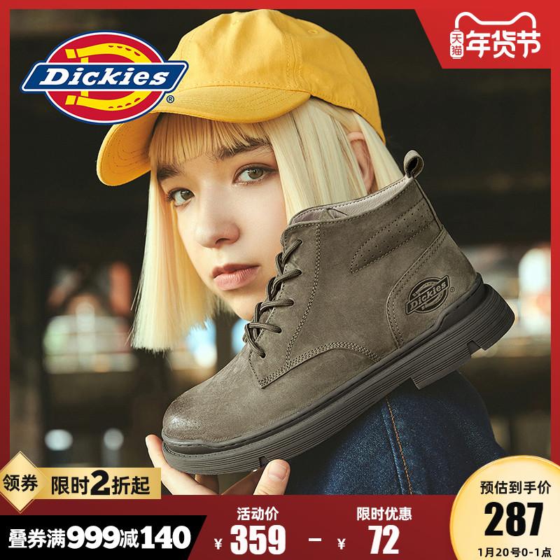 Dickies马丁靴女高帮短靴冬季百搭加绒雪地靴真皮加厚英伦风靴子