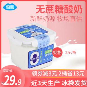 雪宝无蔗糖酸奶大桶装1kg整箱批发老酸奶2斤牛奶坚果水果酸奶养胃
