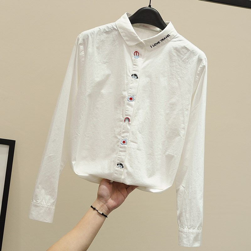 White shirt female long sleeve pure cotton 2021 spring small fresh embroidery flower shirt Lapel loose top bottom small shirt