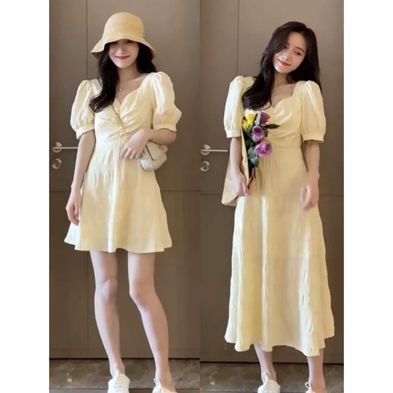 Light yellow dress for women 2020 new French Retro Mid length waist and open back dress design for summer