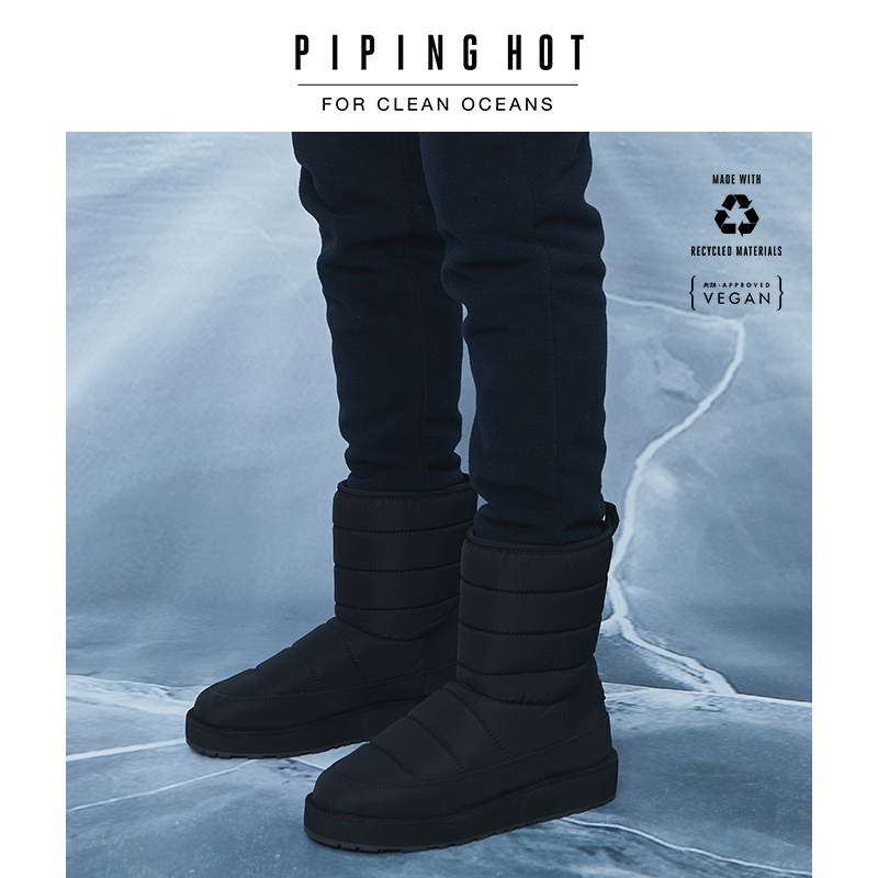 Ping hot / vegan mens mid barrel waterproof fabric snow boots black couple warm boots
