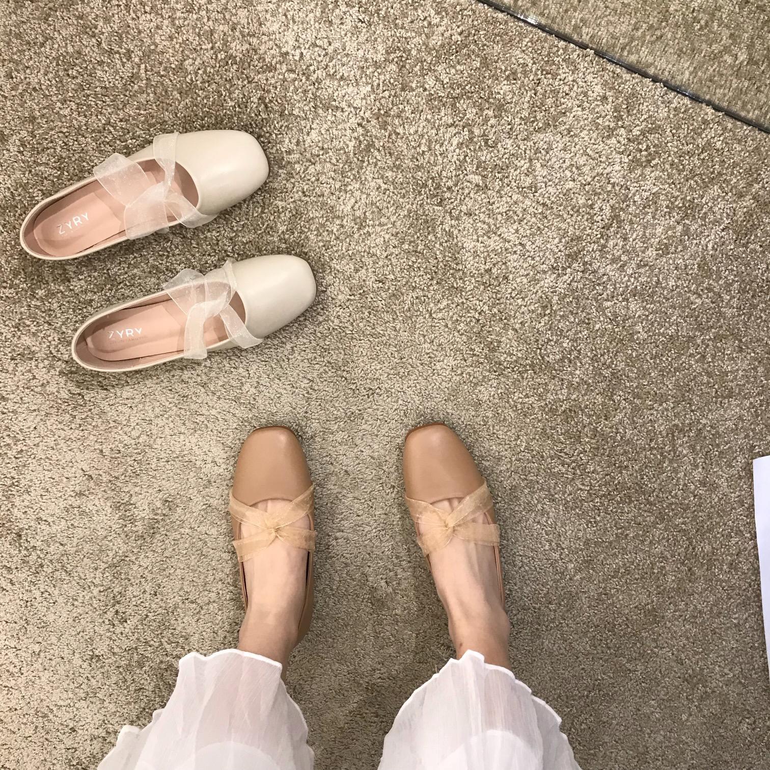 温柔仙女风 方头浅口平底单鞋女蕾丝交叉芭蕾舞鞋百搭舒适豆豆鞋