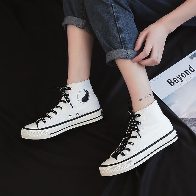 帆布鞋女高帮韩版百搭学生2020年新款网红ins春秋小众印花女板鞋