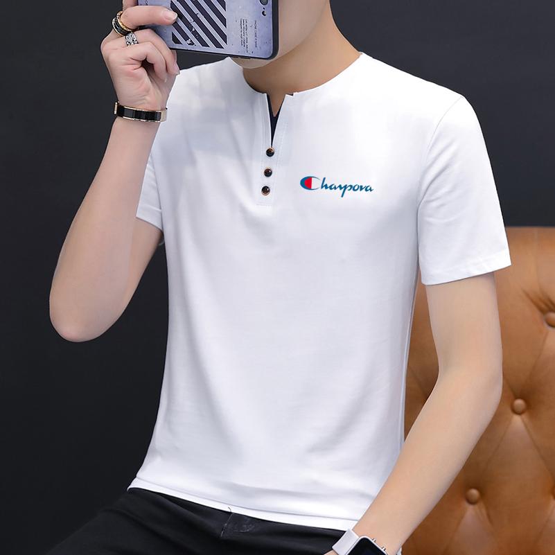 越冠军夏季新款男短袖T恤潮流polo衫男棉修身休闲体恤上衣