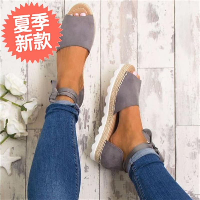 Yiwu products popular thick bottom grass woven fish mouth f ankle strap large size sandals European and American womens sandals in stock