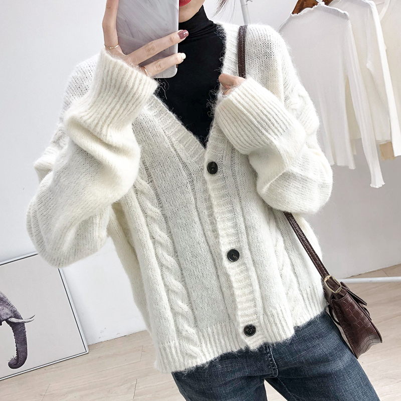 Early autumn warm V-neck knitted sweater cardigan womens casual solid color short long sleeve coat loose small top