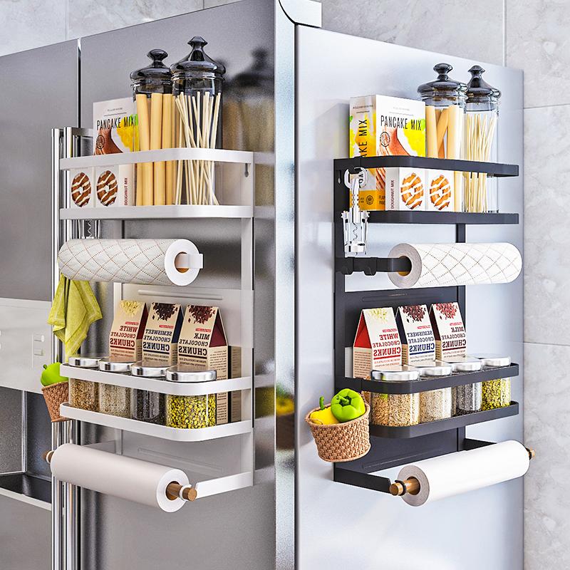 厨房冰箱磁吸置物架侧面收纳盒磁铁壁挂式调料架子侧保鲜膜袋挂架